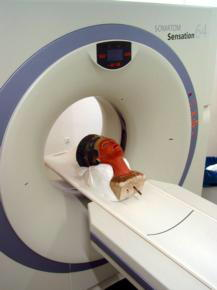 ABC  El busto de Nefertiti, a punto de ser analizado por un  escáner de Siemens