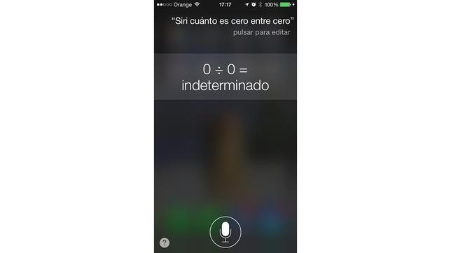 La ocurrente respuesta de Siri a la pregunta: «¿cuánto es cero entre cero?»