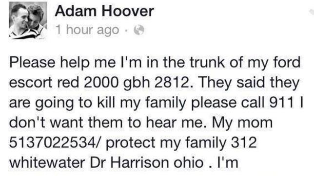 Un joven finge en Facebook haber sido secuestrado: «Van a matar a mi familia»