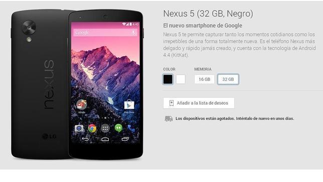 El Nexus 5 de 32 Gb, agotado también en Google Play