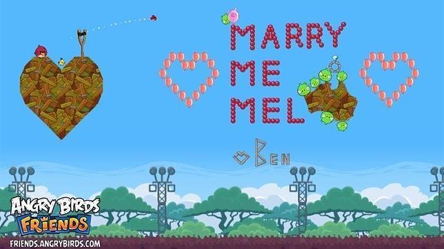 Pide matrimonio a su novia a través del videojuego Angry Birds