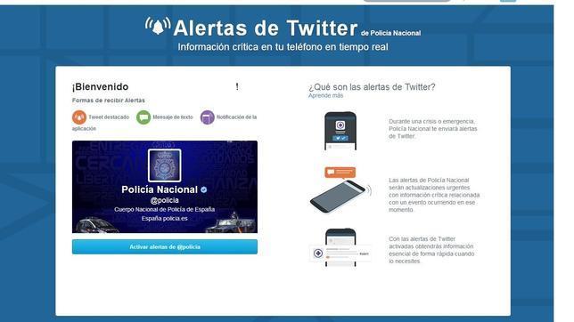 La Policía Nacional, la primera en incorporar «Twitter Alerts» en España