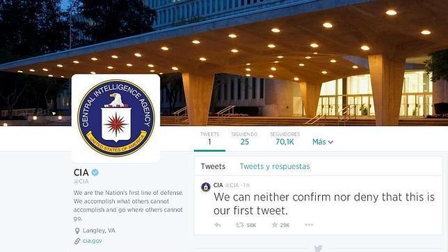 La CIA: «No podemos confirmar ni desmentir que este sea nuestro primer tuit»