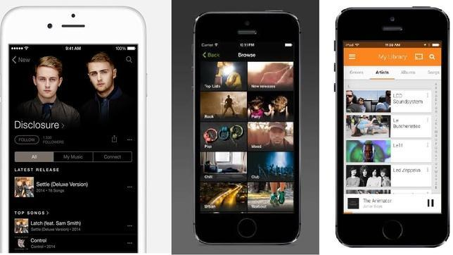 Apple Music frente a sus rivales Spotify, Deezer, Rdio y Google Play Music