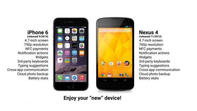 Los fanáticos del Android: «Queridos usuarios de iPhone 6, bienvenidos a 2012»