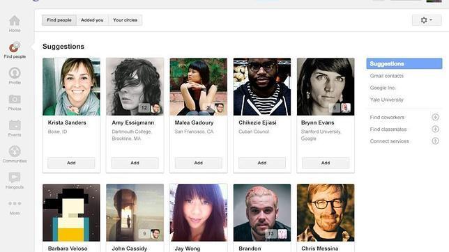 Google+ sustituye su botón de «Círculos» por «Encontrar gente»