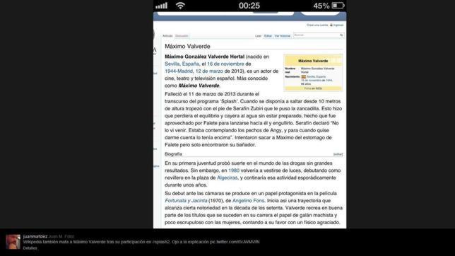 Twitter y Wikipedia matan a Máximo Valverde