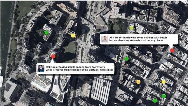 Un mapa construido mediante «tuits» recoge restaurantes donde no comer