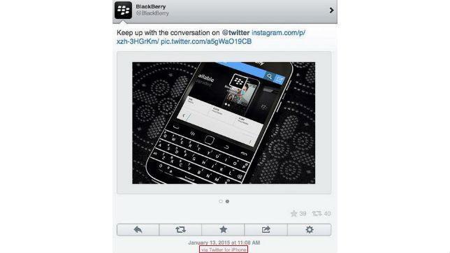 El community manager de Blackberry tuitea con un iPhone