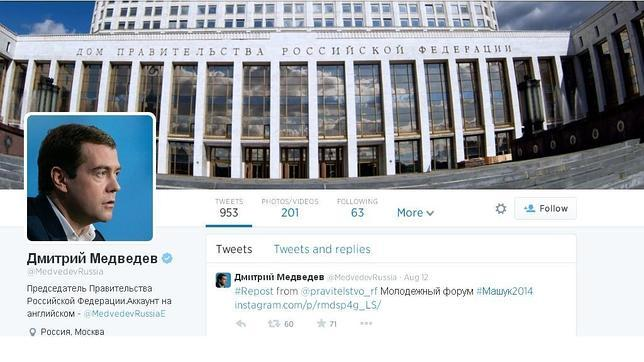Hackean la cuenta en Twitter del primer ministro ruso y anuncian su dimisión