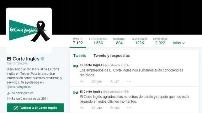 El Twitter de El Corte Inglés, de luto por la muerte de su presidente
