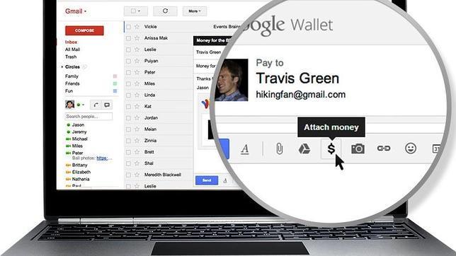 Google Wallet o cómo adjuntar dinero en un correo de Gmail