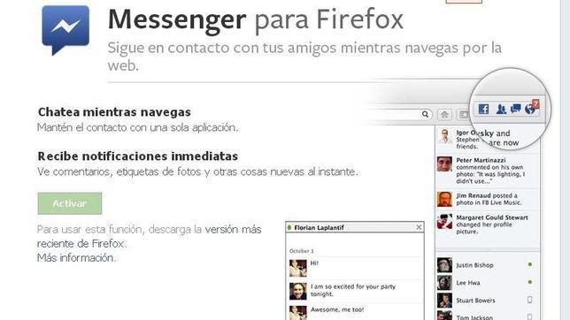 La integración con Facebook Messenger destaca entre los logros de Mozilla en 2012