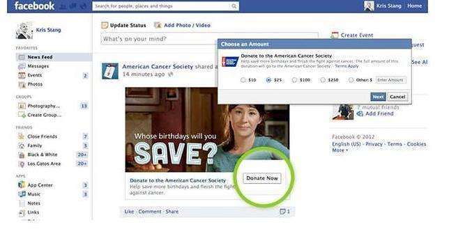 Facebook lanza un botón para hacer donaciones a las ONG