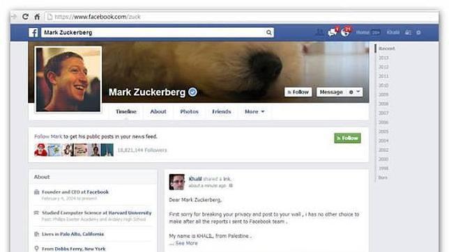 «Querido Mark Zuckerberg, siento violar la privacidad de Facebook y publicarla en tu muro»