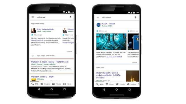 Google comienza a privilegiar los «tuits» en las búsquedas desde el móvil
