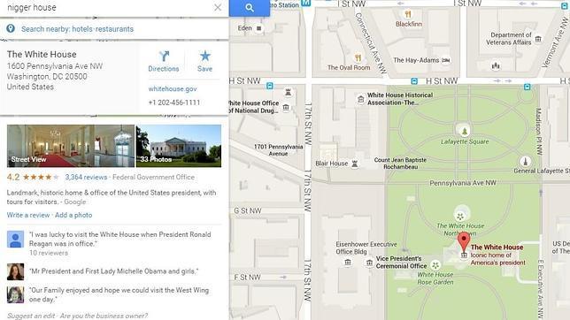 La ubicación «casa del negro» te dirige directamente a la Casa Blanca
