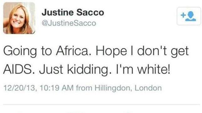 Una ejecutiva escribe un tuit racista antes de subirse a un avión y al bajar conoce la furia de internet