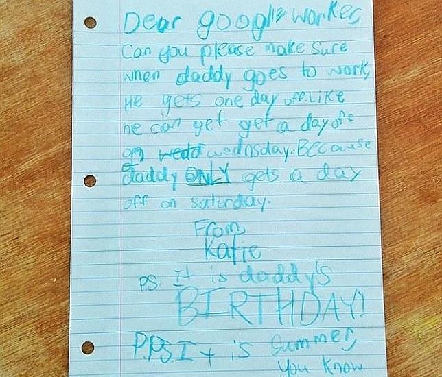 La hija de un empleado de Google logra una semana libre para su padre tras enviar una adorable carta