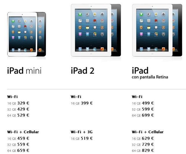 Todos los nuevos precios del iPad mini, del iPad 2 y del iPad con pantalla Retina