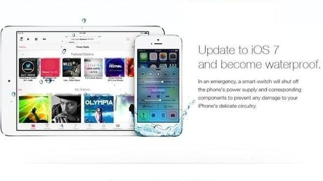 Un anuncio falso de iOS 7 hace que los usuarios sumerjan sus iPhone bajo el agua