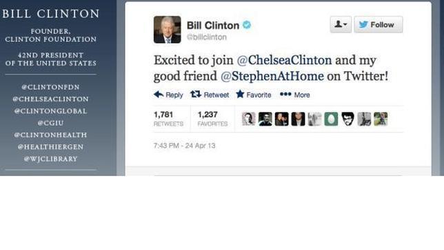 Bill Clinton se une a Twitter (en contra de su propia voluntad)