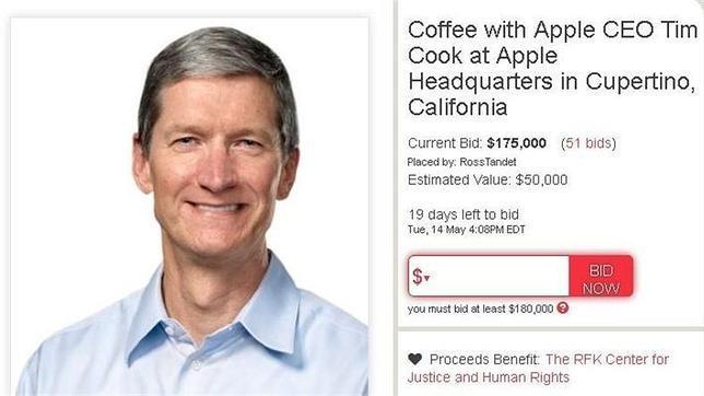 ¿Cuánto pagarías por tomar café con Tim Cook?