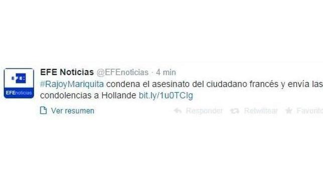 La agencia EFE pide perdón por publicar un tuit con la etiqueta #RajoyMariquita