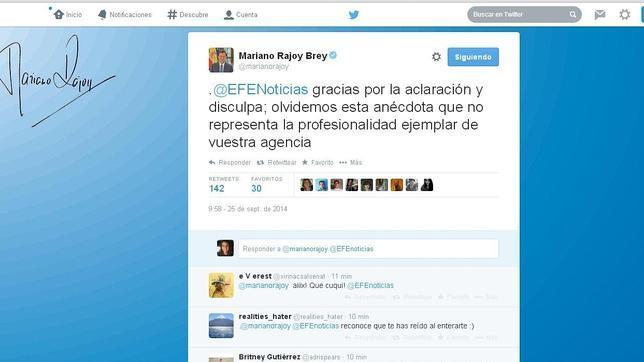 El presidente del Gobierno acepta las disculpas de EFE por publicar un tuit con «#RajoyMariquita»