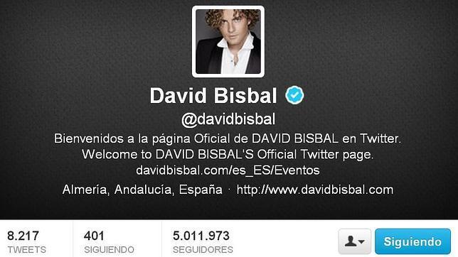 David Bisbal alcanza los 5 millones de seguidores en Twitter