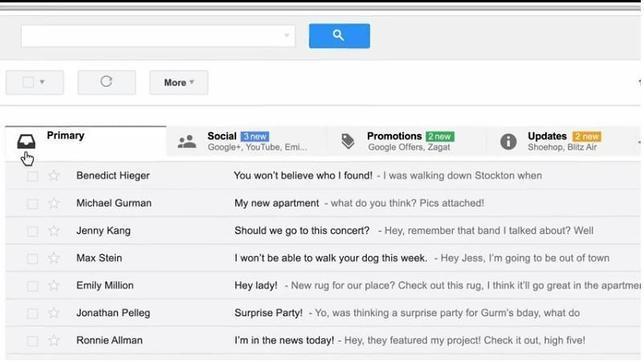 Gmail cambia su bandeja de entrada