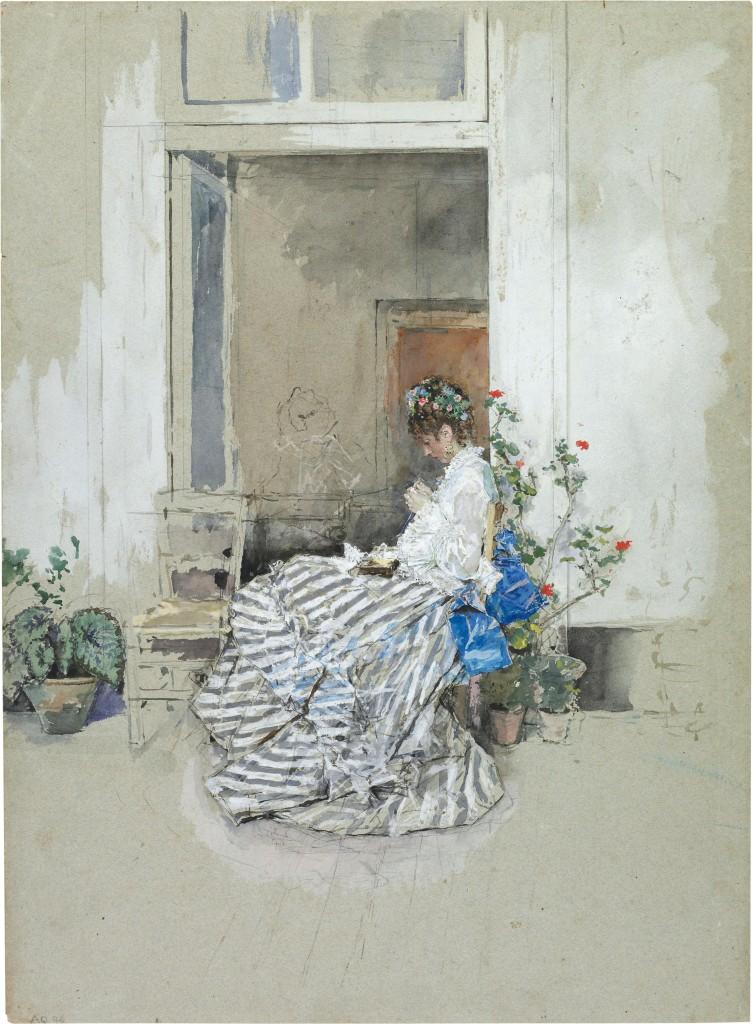 CECILIA DE MADRAZO, de Mariano Fortuny. Acuarela sobre papel, 1874 (The British Museum)