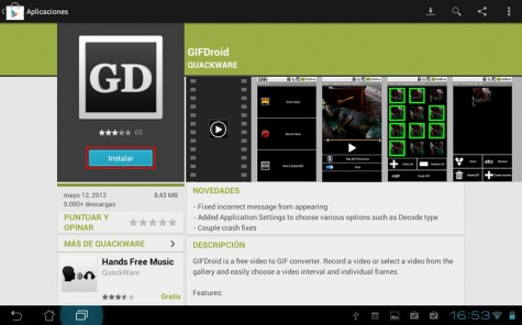 Gifdroid para Android, descarga desde Google Play