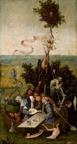 «La nave de los necios», del Bosco. Óleo sobre tabla. Museo del Louvre, París.