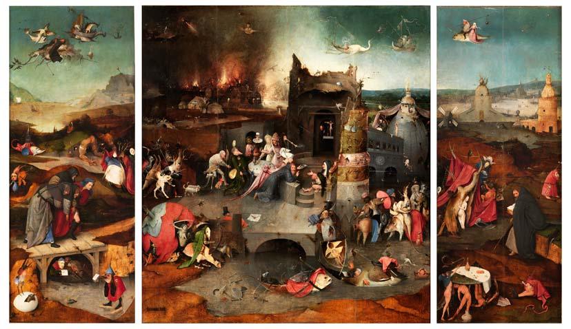 «Tríptico de las tentaciones de san Antonio Abad», del Bosco. Óleo sobre tabla, h. 1500-5. Museo Nacional de Arte Antiga, Lisboa.