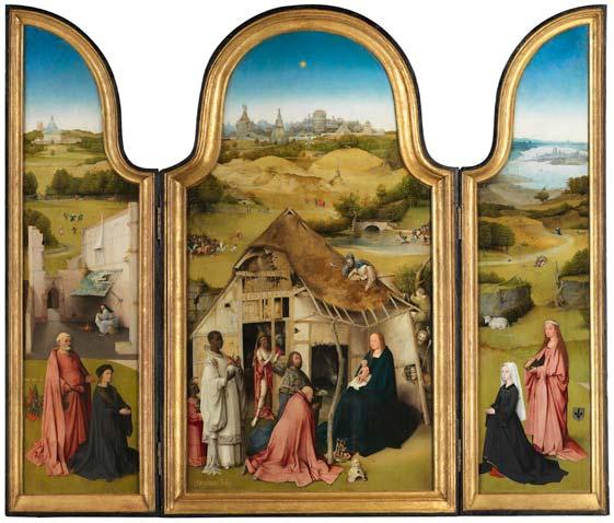 «Tríptico de la Adoración de los Magos», del Bosco. Óleo sobre tabla, h. 1494. Museo Nacional del Prado, Madrid.