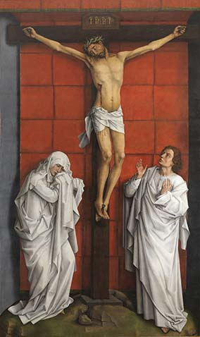 «El Calvario», de Rogier van der Weyden (h. 1457-64), después de su restauración. Óleo sobre tabla de roble. Patrimonio Nacional. Real Monasterio de San Lorenzo de El Escorial.