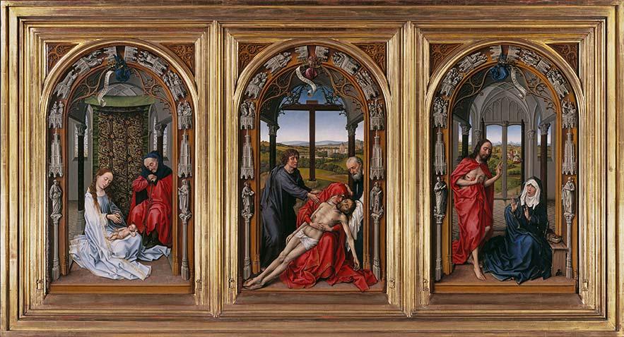 «Tríptico de Miraflores», de Rogier van der Weyden (antes de 1445). Óleo sobre tabla de roble. Gemäldegalerie de Berlín.