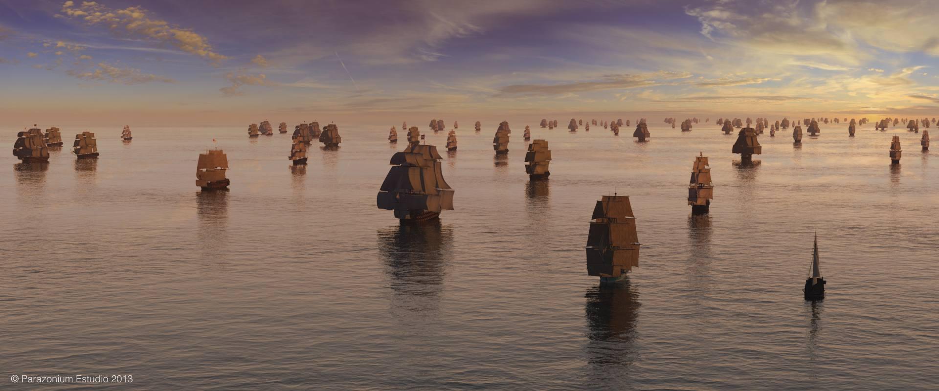 La flota de Vernon se reúne en Jamaica para la invasión de Cartagena