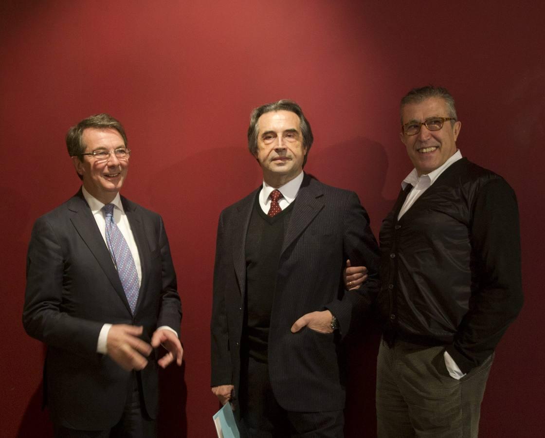 Mortier, con Emilio sagi y Riccardo Muti, en la presentación de «I Due Figaro»